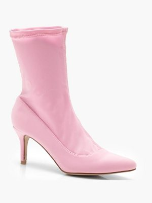 BOOHOO Kerry Pointed Toe Low Heel Sock Boots