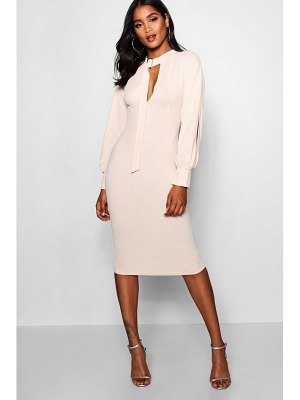 Boohoo Keyhole Detail Split Sleeve Midi Dress