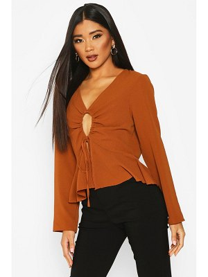 Boohoo Keyhole Tie Front Blouse