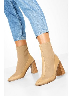 Boohoo Knit Panel Block Heel Sock Boots