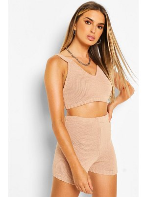 Boohoo Knitted Bralet & Shorts Two-Piece