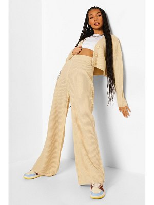 Boohoo Knitted Button Cropped Cardi And Wide Leg Set