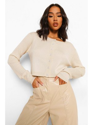 Boohoo Knitted Button Up Cropped Cardigan
