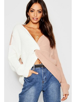 Boohoo Knitted Colour Block Twist Front Sweater