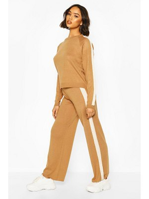 Boohoo Knitted Crew Neck Colour Block Lounge Set