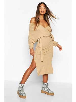 Boohoo Knitted Off The Shoulder Midi Dress