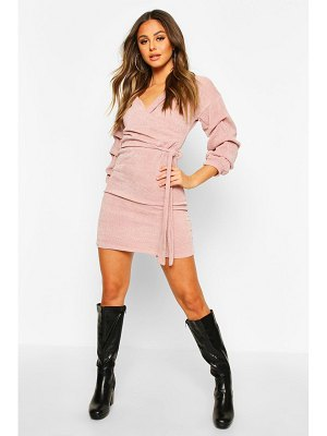 Boohoo Knitted Ruched Sleeve Belted Midi Dress