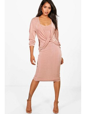 Boohoo Knitted Slinky Knot Jumper & Dress