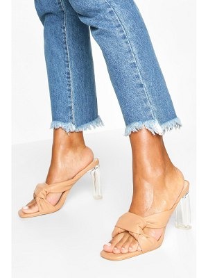 Boohoo Knot Front Clear Heel Mules