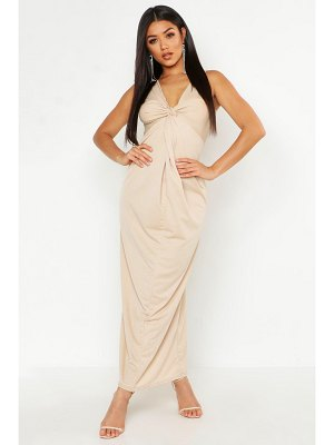 Boohoo Knot Front Plunge Maxi Dress