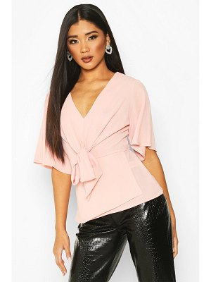 Boohoo Knot Front Woven Blouse