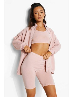 Boohoo Label Detail 3 Piece Biker Short Tracksuit