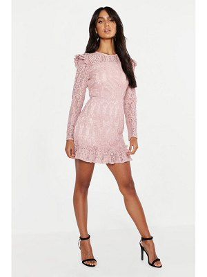 Boohoo Lace Frill Detail Mini Dress