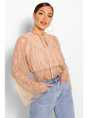 Boohoo Lace High Neck Blouse