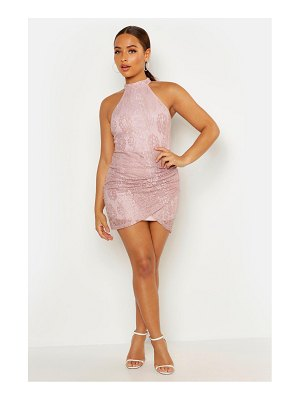 Boohoo Lace High Neck Ruched Side Bodycon Mini Dress