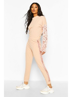 Boohoo Lace Insert Crop Co-Ord Set