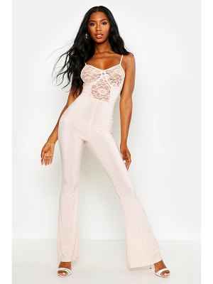 Boohoo Lace Insert Cupped Flare Jumpsuit