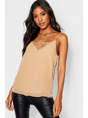 Boohoo Lace Insert Woven Cami Top