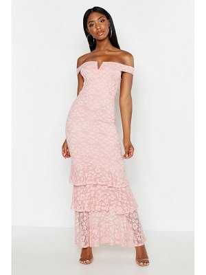 Boohoo Lace Notch Front Bardot Maxi Dress