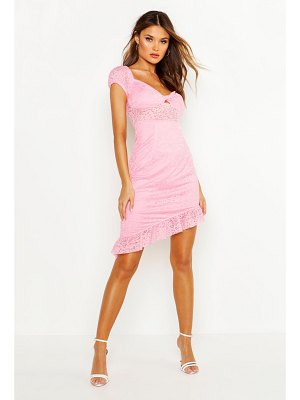 Boohoo Lace Off Shoulder Twist Front Dress