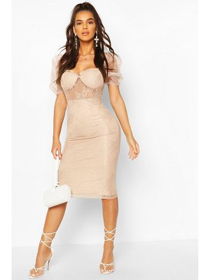 Boohoo Lace Organza Puff Sleeve Midi Dress