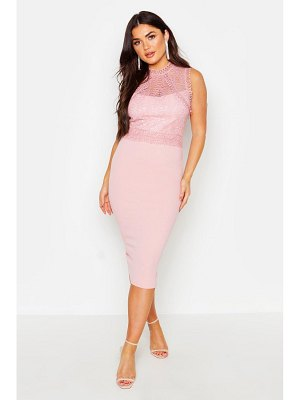 Boohoo Lace Panelled Detail Midi Dress