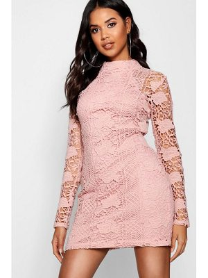 Boohoo Lace Panelled High Neck Bodycon Dress