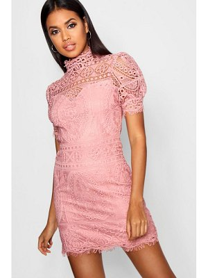 Boohoo Lace Puff Sleeve Bodycon Dress