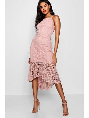 Boohoo Lace Ruffle Hem Detail Midi Dress