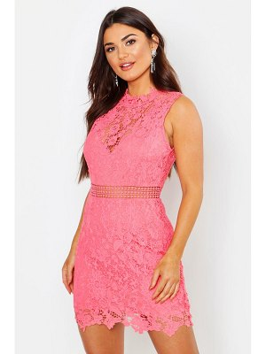 Boohoo Lace Scallop High Neck Bodycon Dress