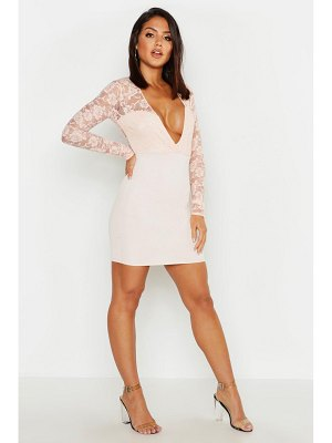 Boohoo Lace Sleeve Plunge Bodycon Dress