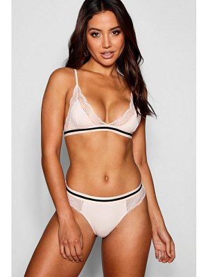 Boohoo Lace & Stripe Elastic Brief