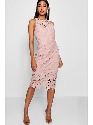 Boohoo Lace Sweetheart Bodycon Midi Dress