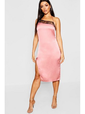 Boohoo Lace Trim Satin Thigh Split Midi Dress