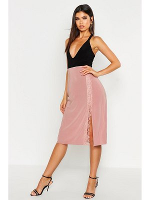 Boohoo Lace Trim Side Split Slip Midi Skirt