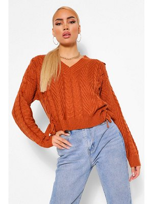 Boohoo Lace Up Cable Crop Sweater