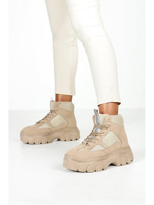 Boohoo Lace Up Chunky Platform Hiker Sneakers