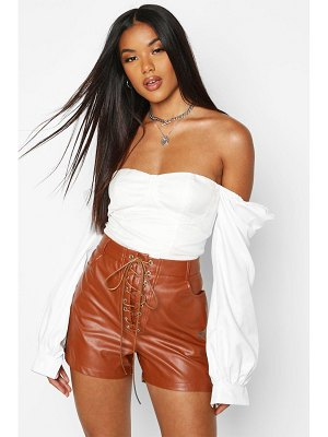 Boohoo Lace Up Front Leather Look Shorts