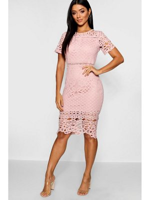 Boohoo Lace Panelled Cap Sleeve Midi Dress