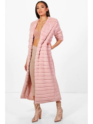 BOOHOO Lara Panelled Faux Fur Coat