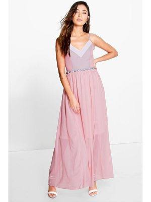 BOOHOO Laura Colour Block Embellished Waist Maxi Dress
