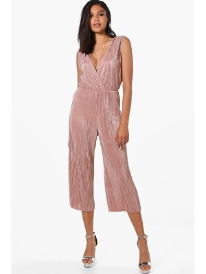 BOOHOO Laura Wrap Front Crinkle Culotte Jumpsuit