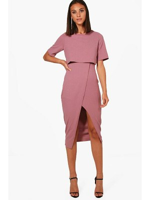 Boohoo Layered Wrap Wiggle Midi Dress