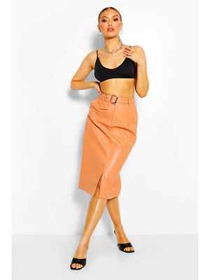 Boohoo Faux Leather Belted Midi Skirt