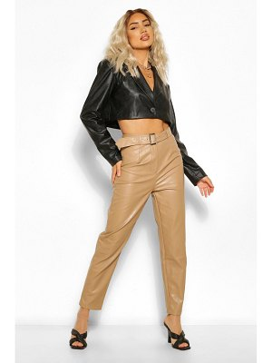 Boohoo Faux Leather Belted Straight Leg Pants