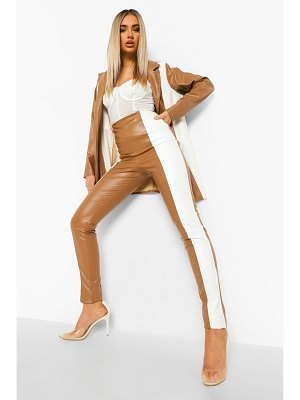 Boohoo Leather Look Contrast Panel Skinny Trouser