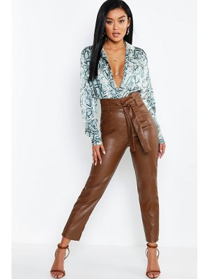 Boohoo Faux Leather Paperbag High Waist Pants