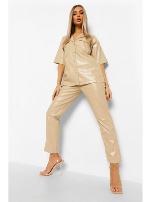 Boohoo Leather Look Straight Leg Pants