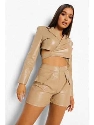 Boohoo Faux Leather Wrap Blazer