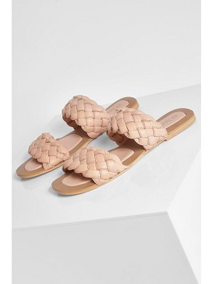 Boohoo Leather Woven Double Strap Slider